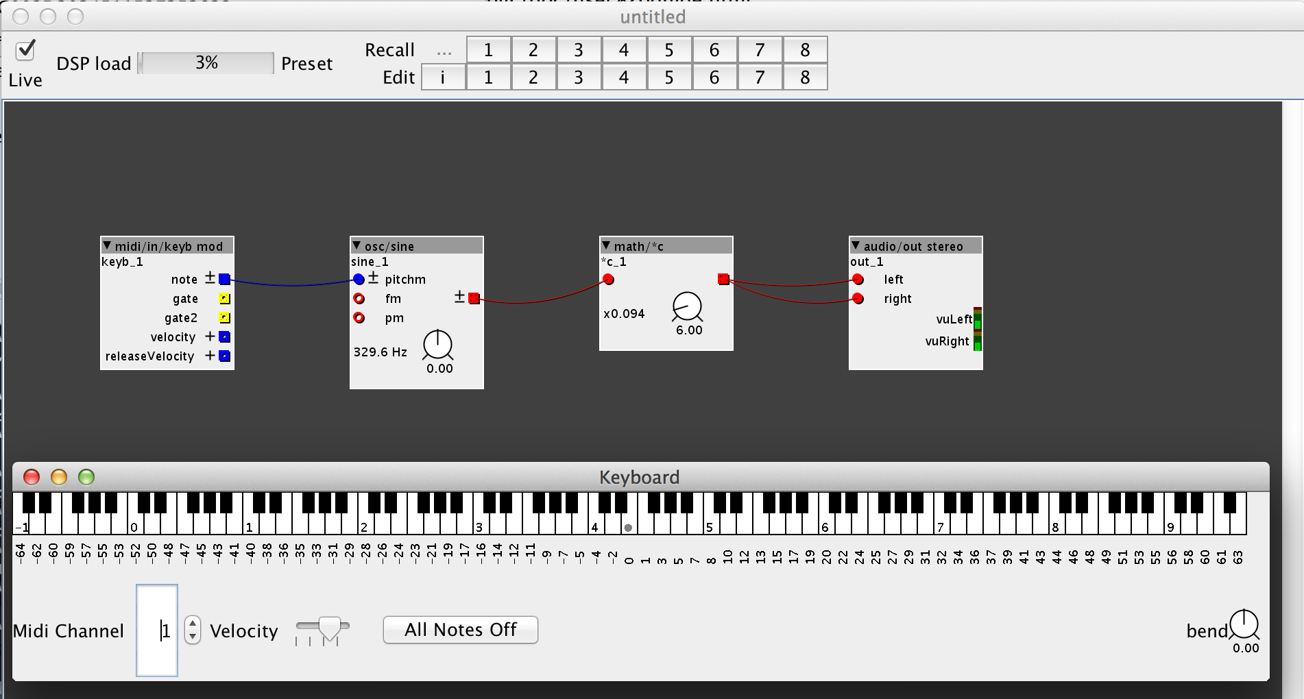 Figure 1.4 — Playing the synthesizer with the keyboard.