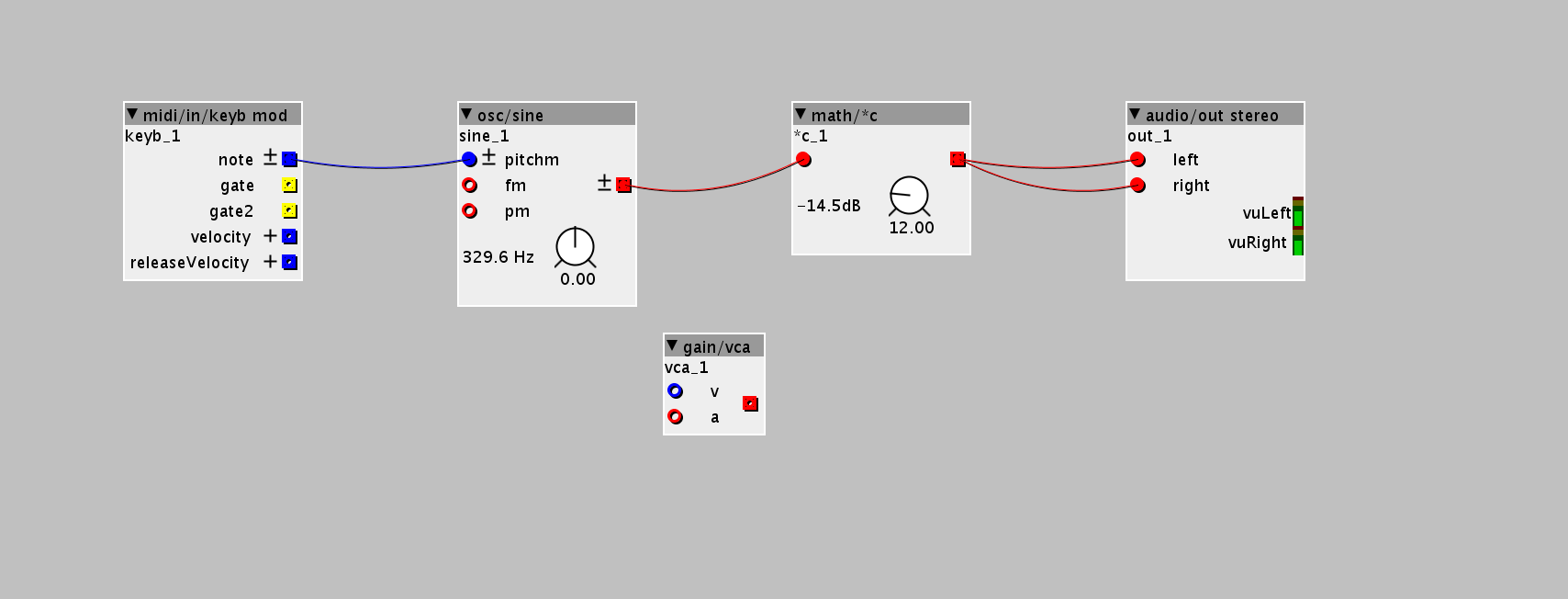 Figure 1.5 — A gain/vca object was added to the document.