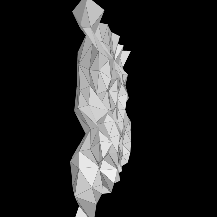 A distorted 3D mesh made with Processing.