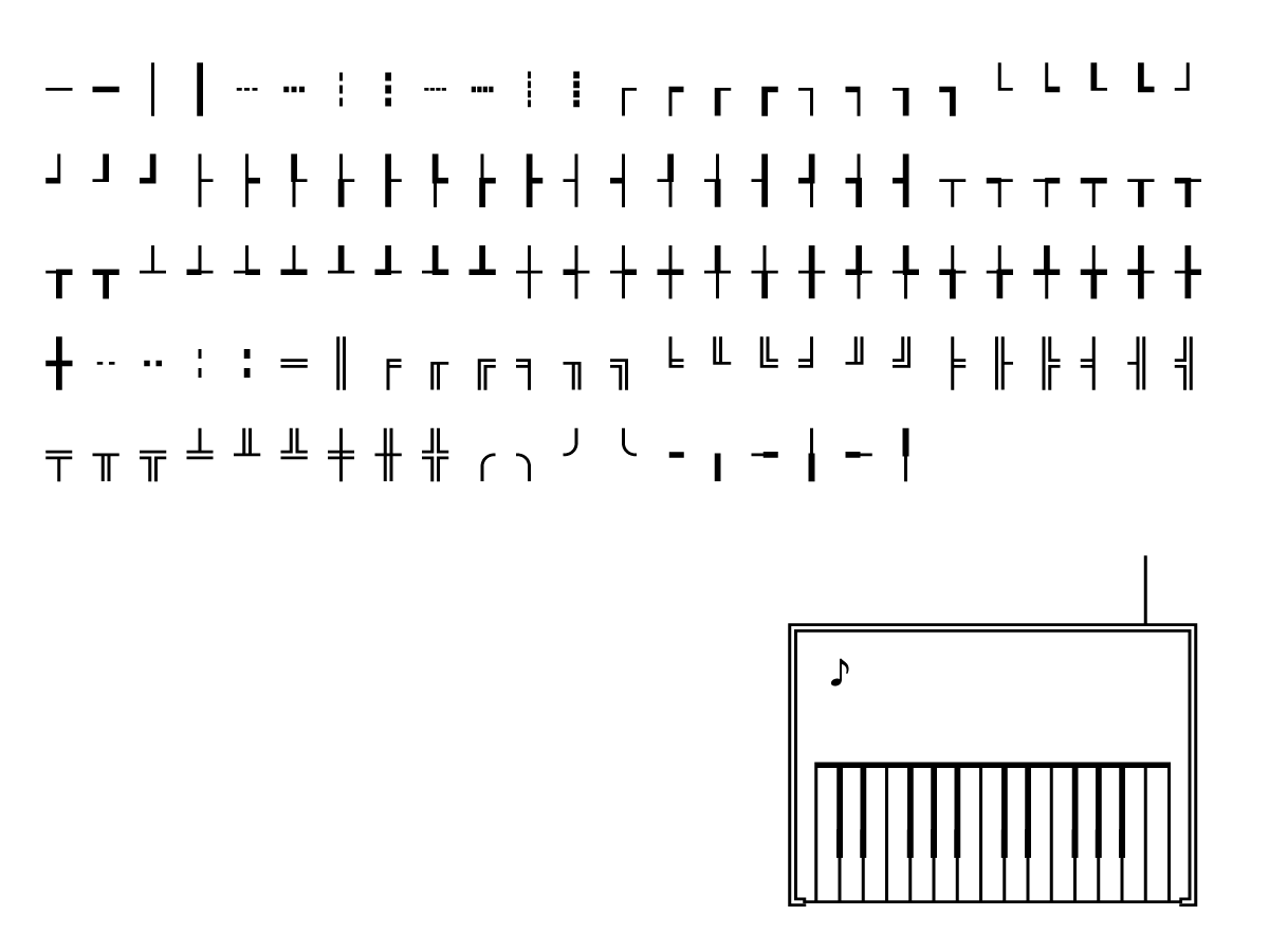 Glyphs used to create the top graphics for the synth.