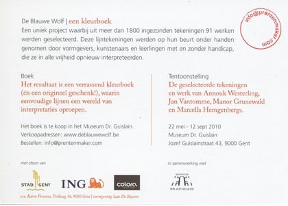 Flyer for the exhibition De Blauwe Wolf - Back
