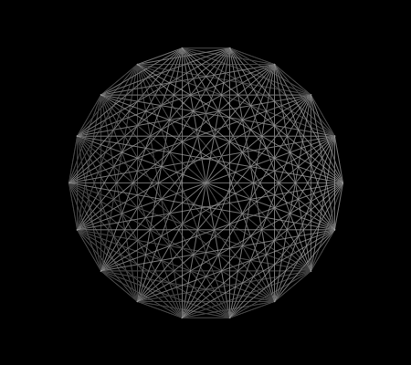 Connecting 18 points located on the circumference of a circle