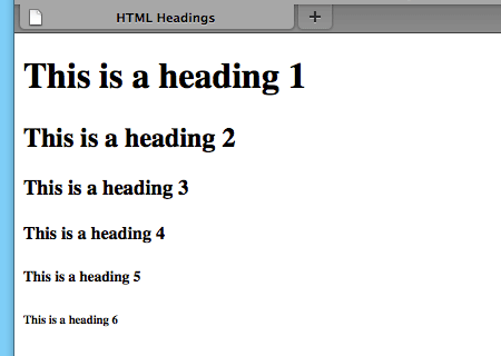 A screenshot of the headings in Firefox