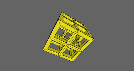 A cube modified with the HEM_Lattice modifier.