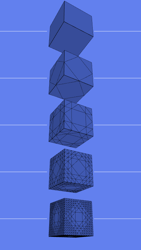 Five cubes subdivided with HES_PlanarMidEdge. Levels of subdivision from 0 to 4.