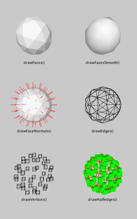 The different render modes from the WB_Render class in Hemesh