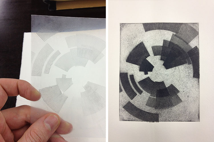 Drypoint print, made by using a laser cutter to engrave the drawing in a plastic plate.