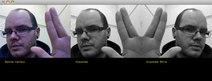 Mirroring a grayscale videofeed with openFrameworks