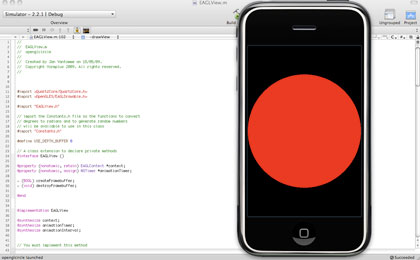 Screenshot of the finished OpenGL ES application. A red circle is showing in the iPhone Simulator.