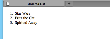 A screenshot of the ordered list in Firefox