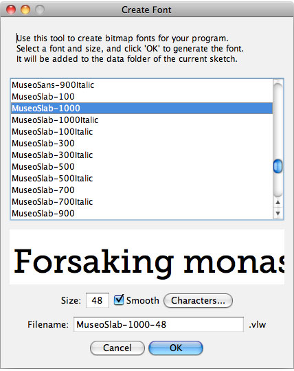 The Processing Create Font tool