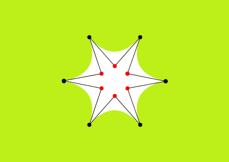 A pointy curvy star with anchor and control points, drawn with quadratic vertices