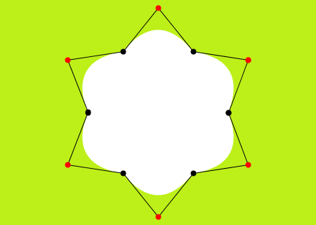 A flower star with anchor and control points, drawn with quadratic vertices