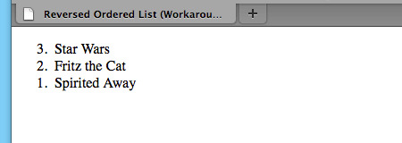 A screenshot of the reversed ordered list with a the workaround in Firefox